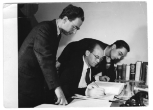 George Theiner (middle) and his colleagues at work in the 1960s