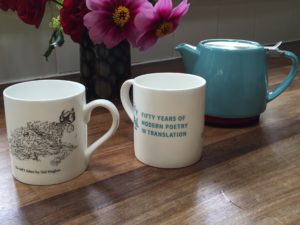 Fine bone china mug with a cartoon by Ted Hughes of the 'MPT editor' from a letter to Daniel Weissbort in the MPT archives. This mug was commissioned for the fiftieth anniversary and the price includes a small contribution to MPT.