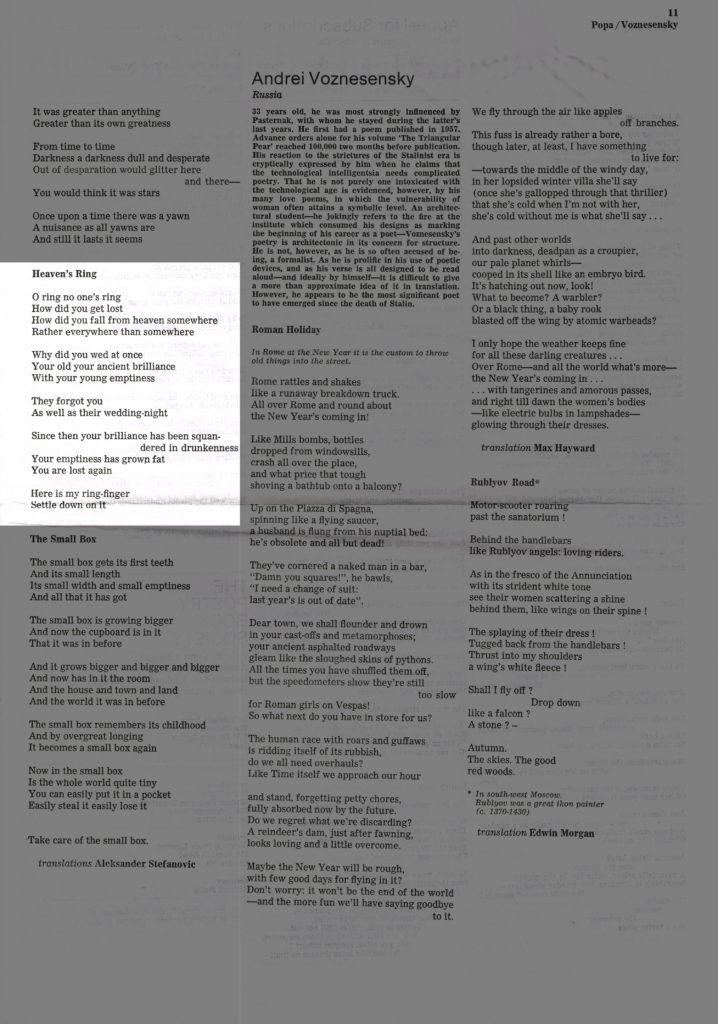 Heaven's Ring - Modern Poetry in Translation