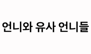 """An image of Korean hangul text for """"언니와 유사 언니들"""" – """"Unni and Quasi-Unnis"""""""