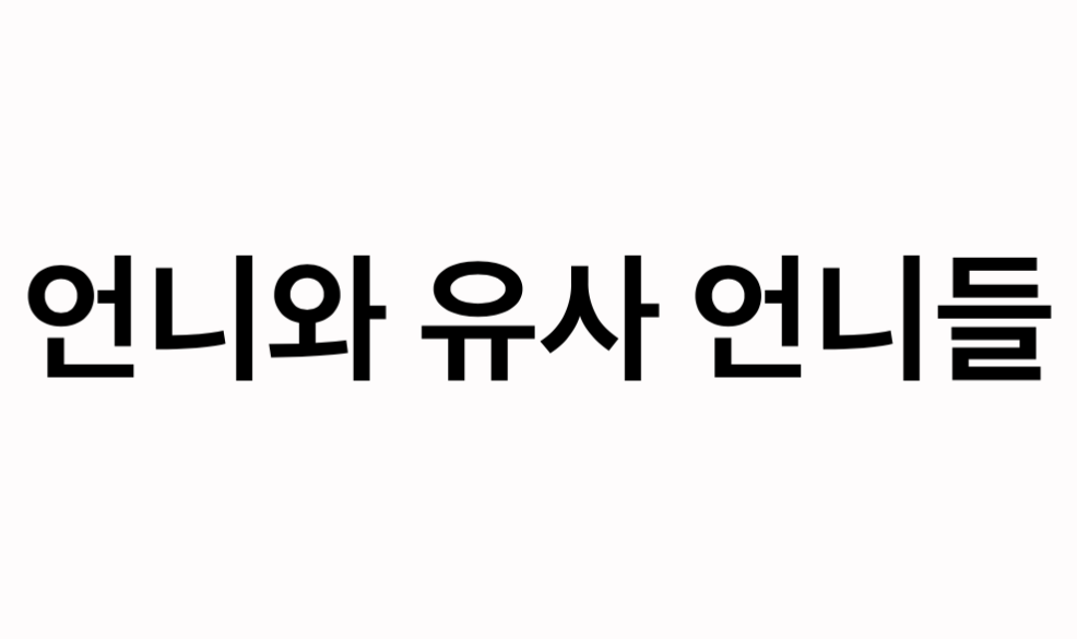 "An image of Korean hangul text for ""언니와 유사 언니들"" – ""Unni and Quasi-Unnis"""