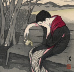 Japanese painting of a person crying beneath a tree