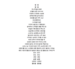 Concrete poem text in Korean: Space Boy Wearing Skirt
